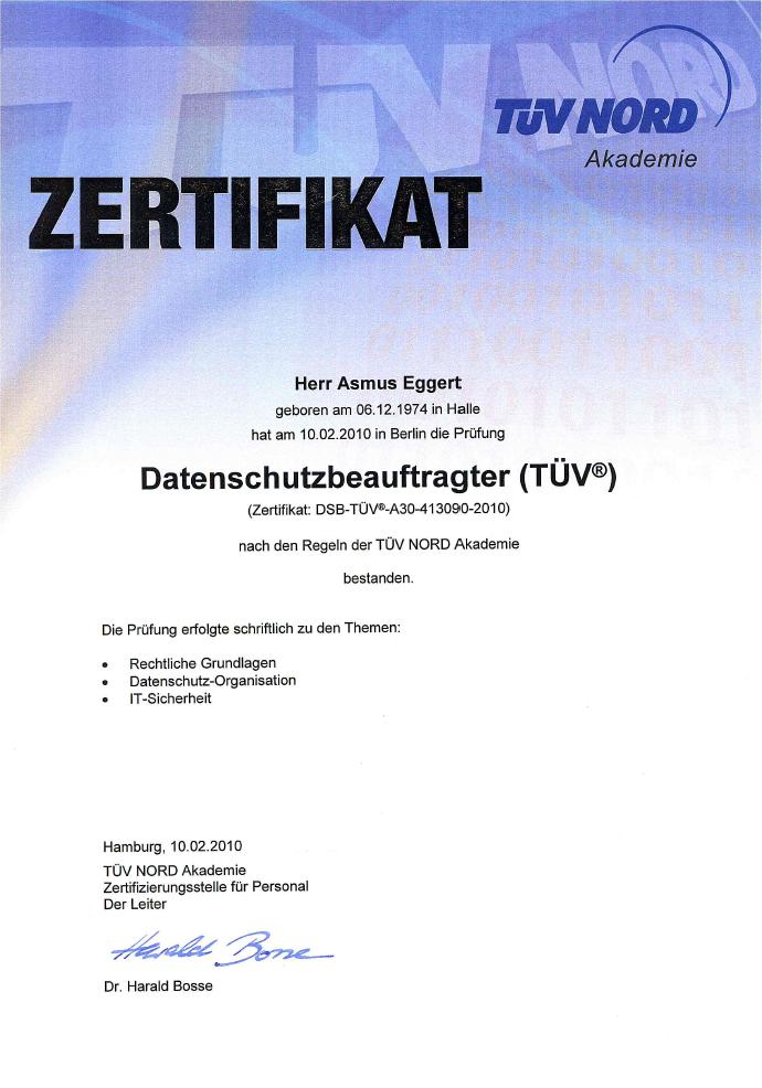 TÜV-zertifizierter Datenschutzbeauftratge Asmus Eggert